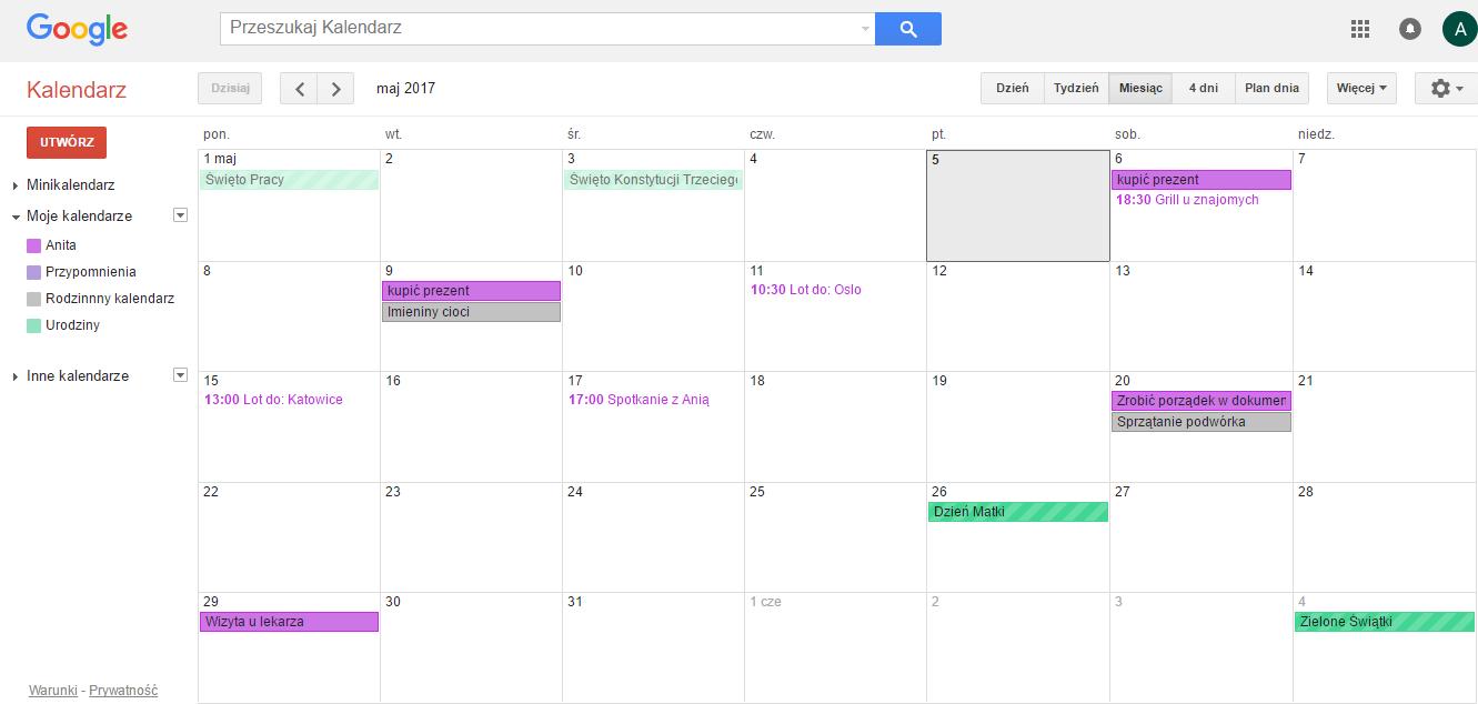 google kalendarz ilustracja